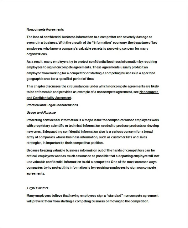 11+ Standard Non-Compete Agreement Templates - Free Sample, Example
