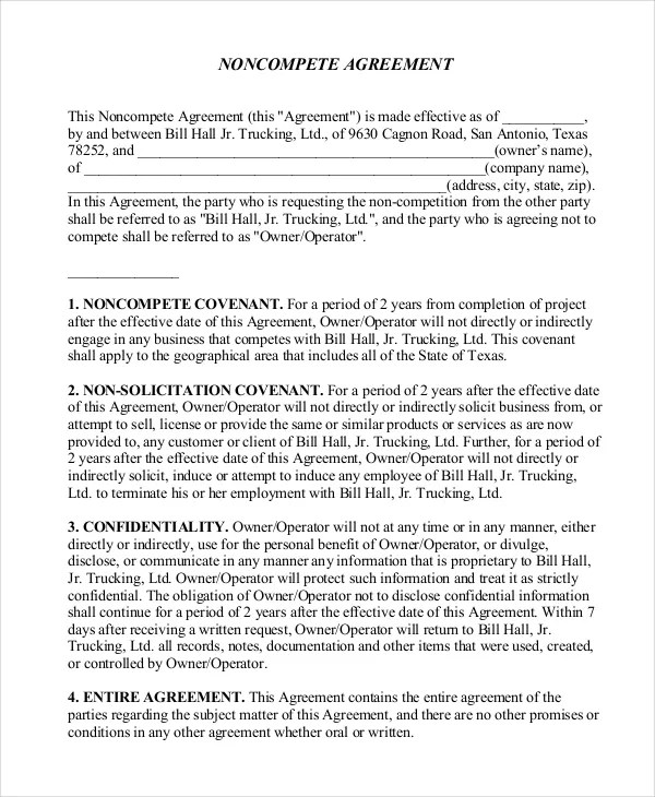 10+ Simple Non-Compete Agreement Templates - Free Sample, Example - non compete agreement template