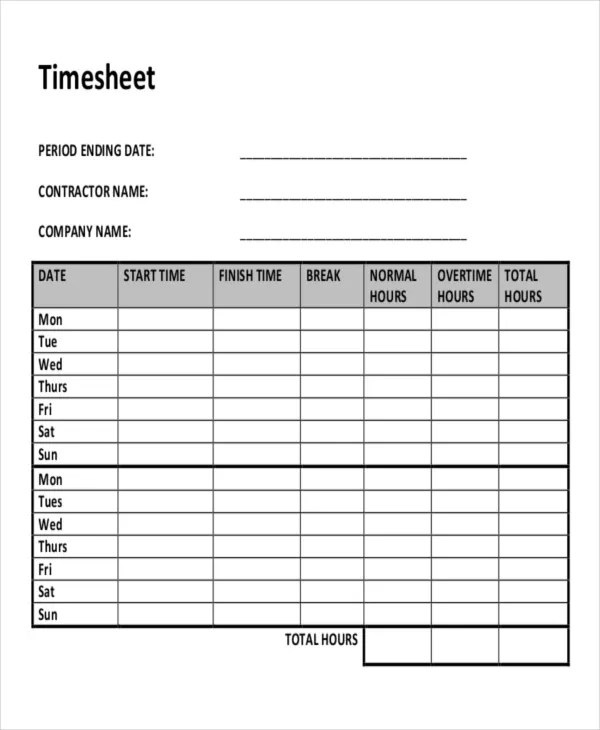 12 Contractor Timesheet Templates Free Sample Example 24 Timesheet Templates Free Sample Example Format