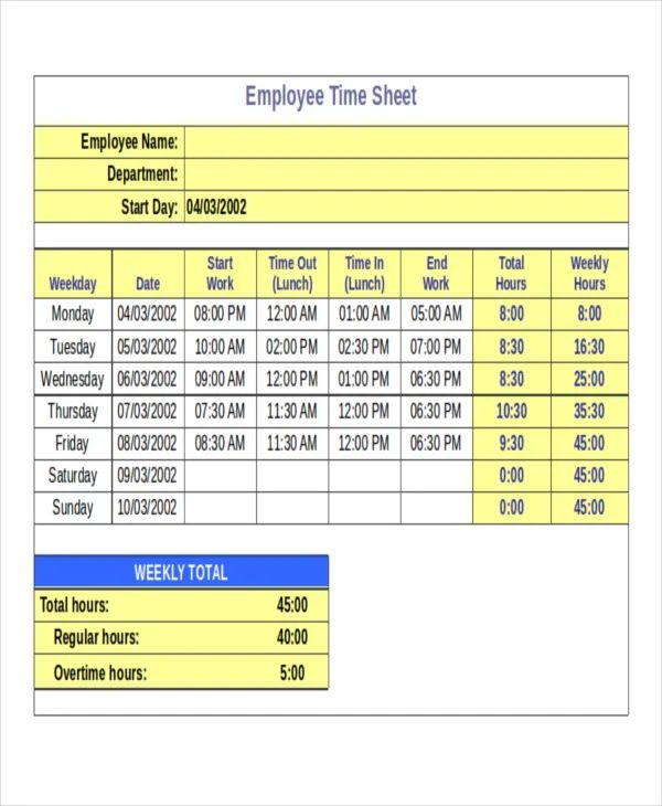 wages timesheet template