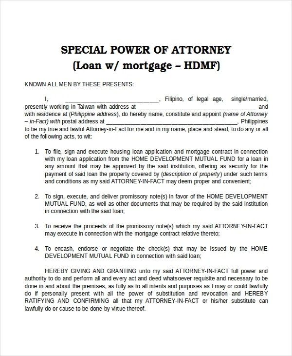 15+ Power of Attorney Templates - Free Sample, Example, Format - Sample Of Power Of Attorney