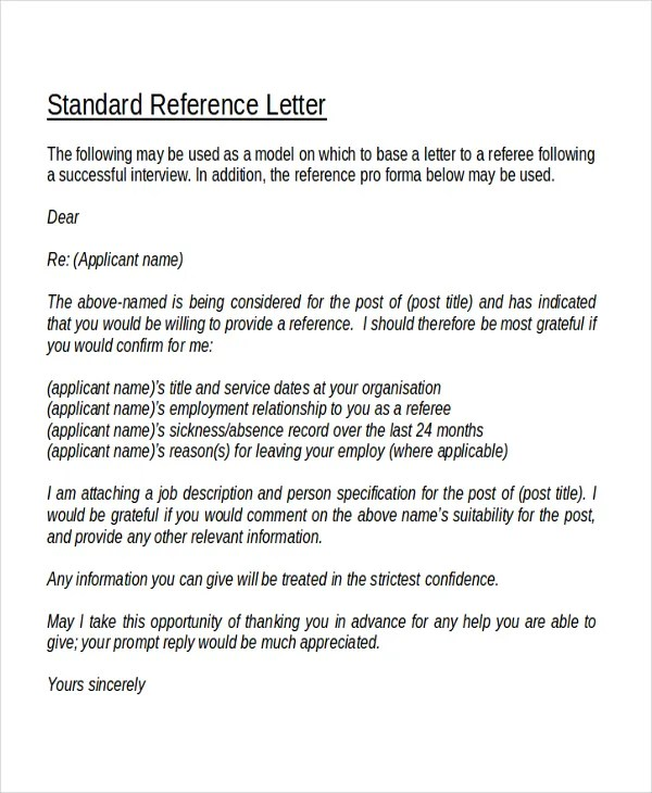 18+ Reference Letter Template - Free Sample, Example, Format Free - personal referral letter