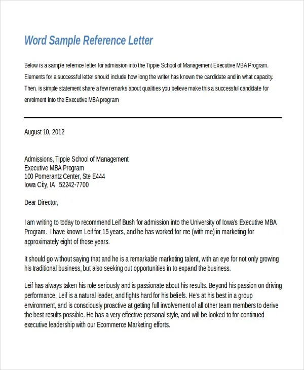 Recommendation Letter Template Word – Reference Letter Template Word