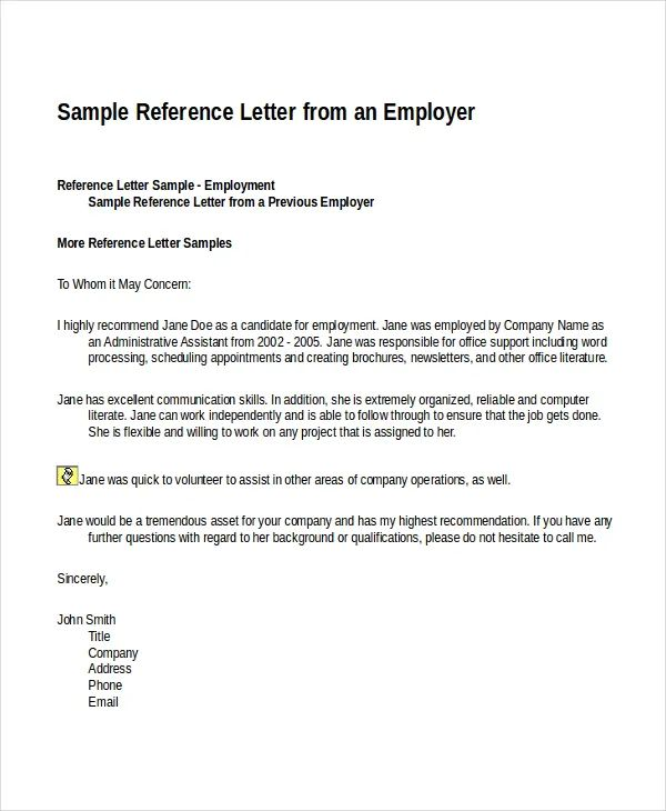 sample employment reference letter examples