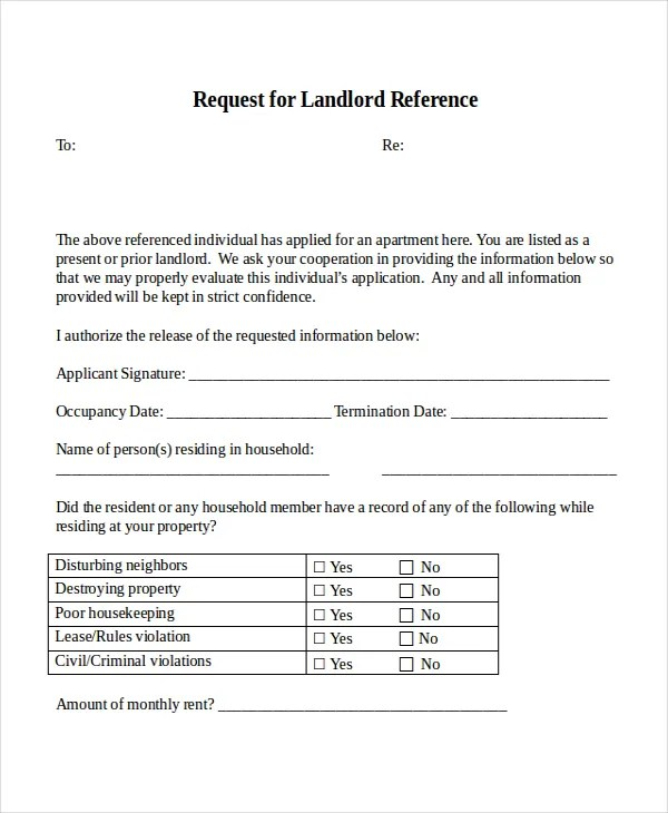 18+ Reference Letter Template - Free Sample, Example, Format Free - sample landlord reference letter template