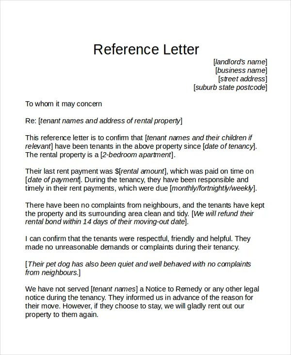 18+ Reference Letter Template - Free Sample, Example, Format Free - Letters Of Reference Template