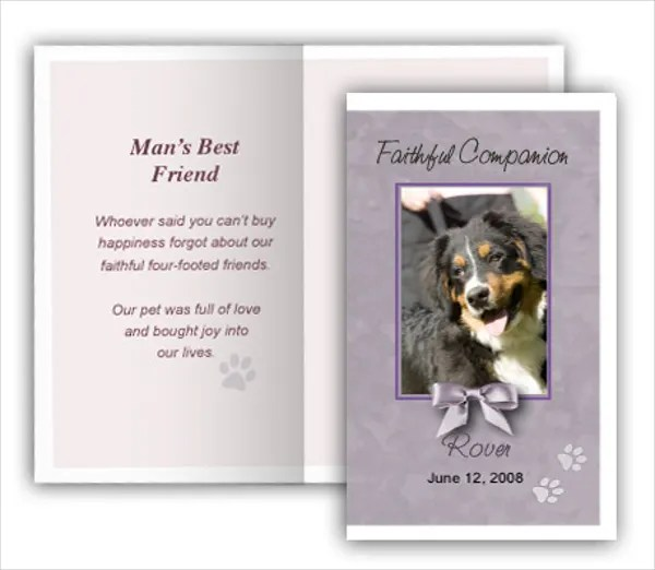 14+ Pet Memorial Cards - Free PSD, AI, EPS Format Download Free - memorial card templates microsoft word