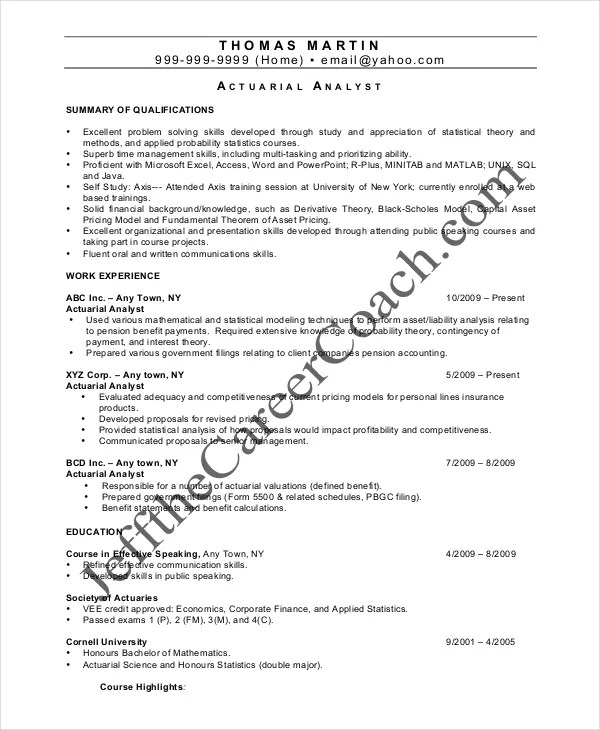 sample resume actuary internship - Sample Actuary Resume