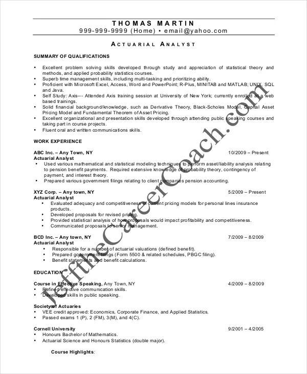 sample actuarial science resume