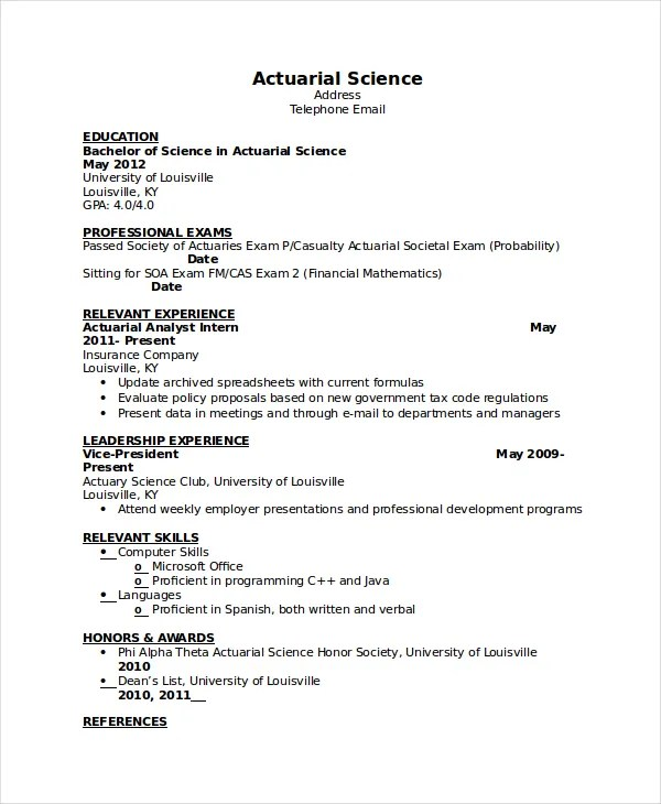 actuary resume job description - Ozilalmanoof - actuary job description
