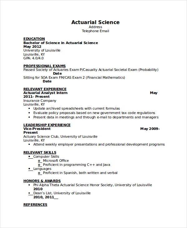 sample actuary internship resume