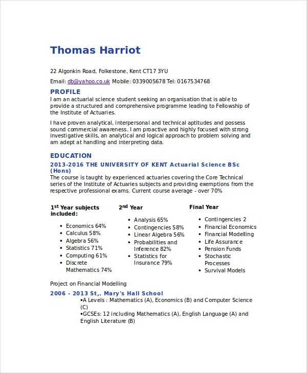 Actuarial Resume Template - 5+ Free Word, PDF Documents Download