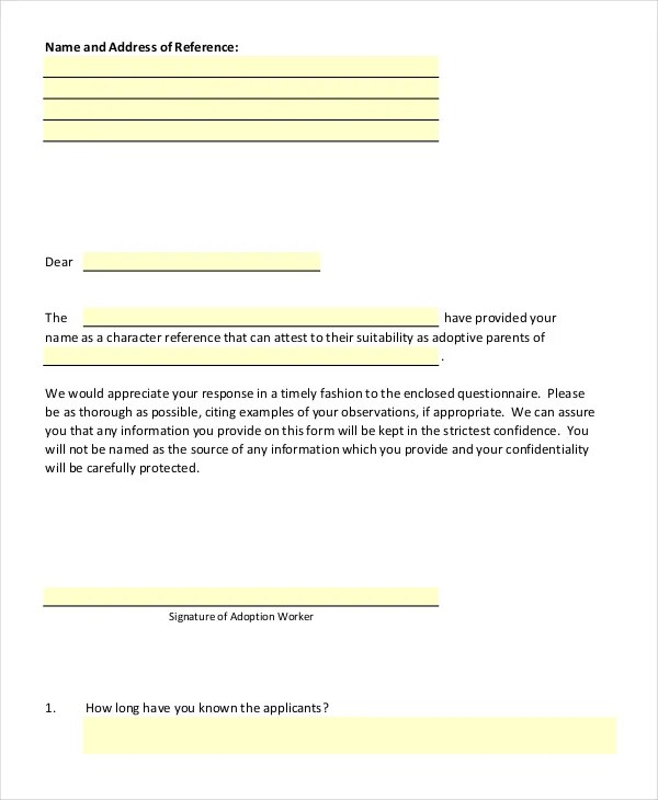 10+ Adoption Reference Letter Templates - Free Sample, Example - proper reference letter format