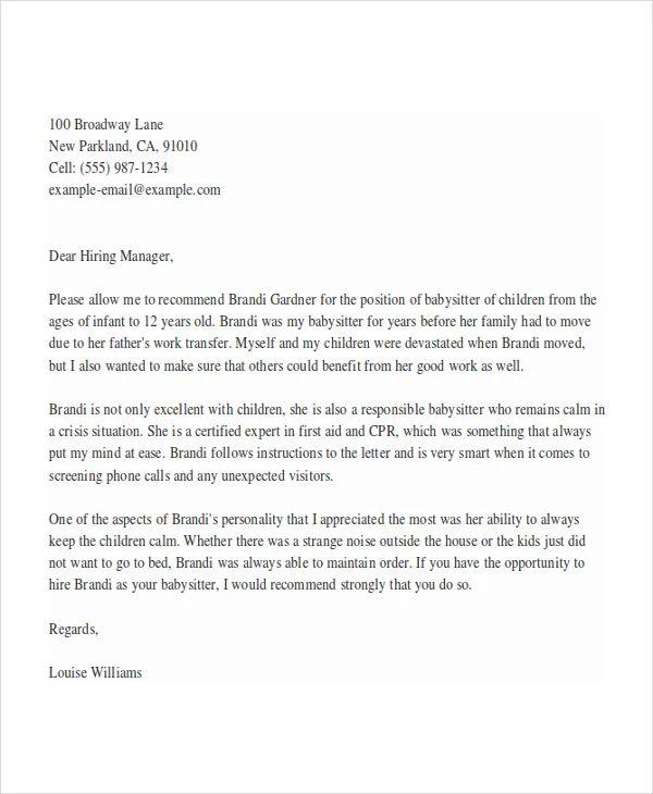 sample letter of recommendation for child care provider