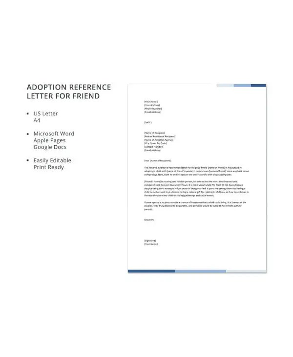 10+ Adoption Reference Letter Templates - Free Sample, Example