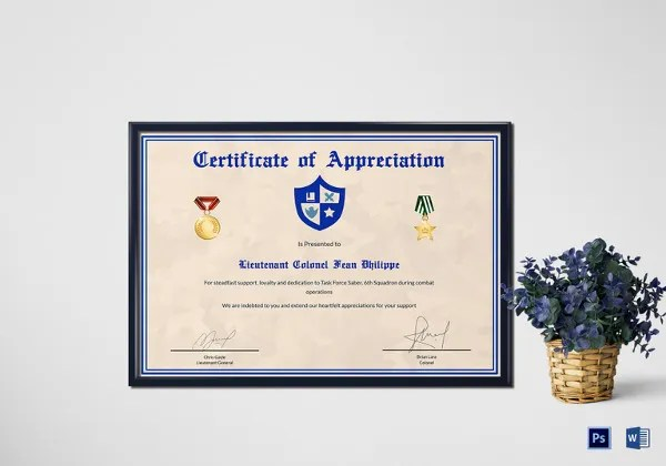 27+ Certificate of Appreciation Templates - PDF, DOC Free - army certificate of appreciation template