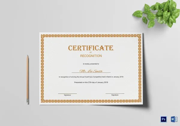 20+ Certificate of Recognition Templates - Free Sample, Example - blank certificate of recognition