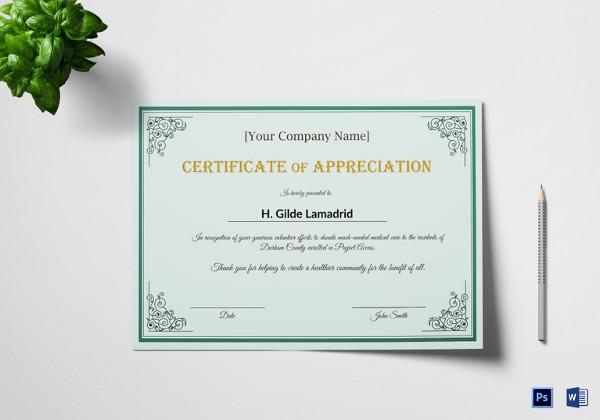 22+ Certificate of Appreciation Templates - Free Sample, Example - sample certificate of appreciation