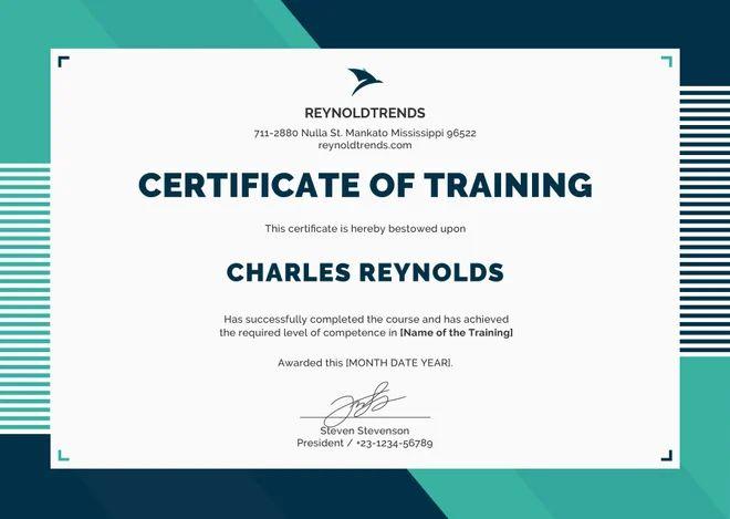 engineering training certificate format