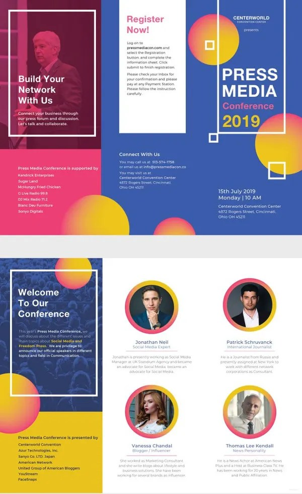 30+ Free Brochure Templates - PSD, InDesign, Illustration Format - conference brochure template