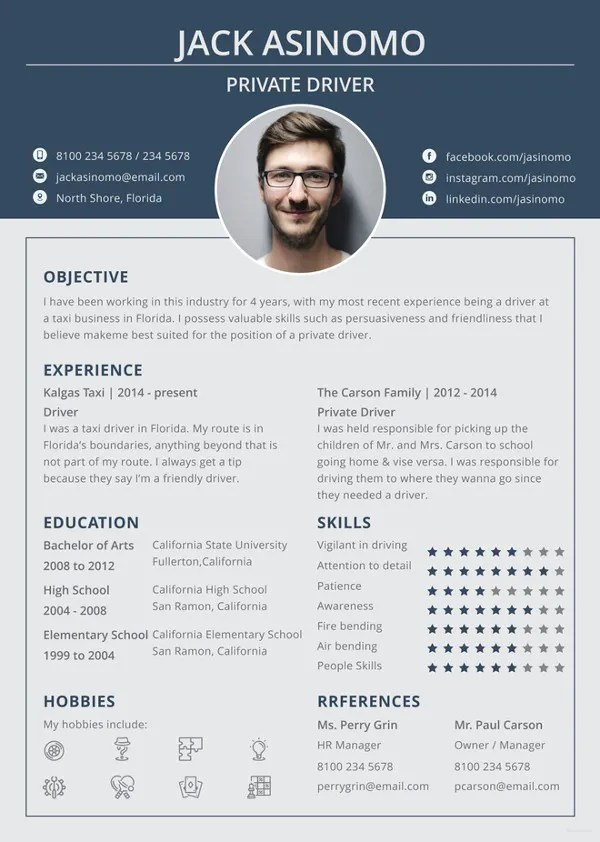 Driver Resume Template - 8+ Free Word, PDF Document Downloads Free