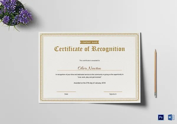 20+ Certificate of Recognition Templates - PDF, Word Free