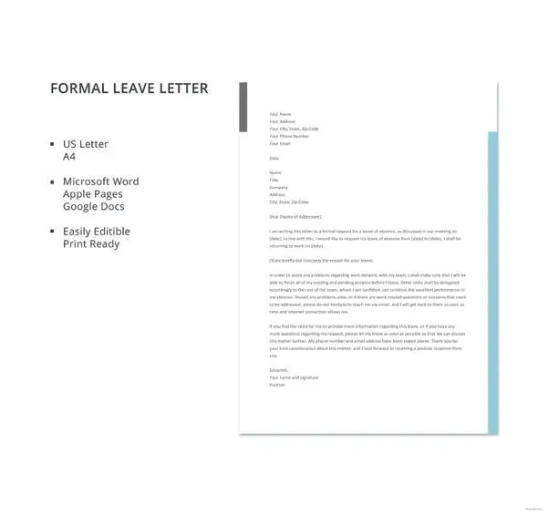 20+ Leave Letter Templates - PDF, DOC Free  Premium Templates - Leave Templates