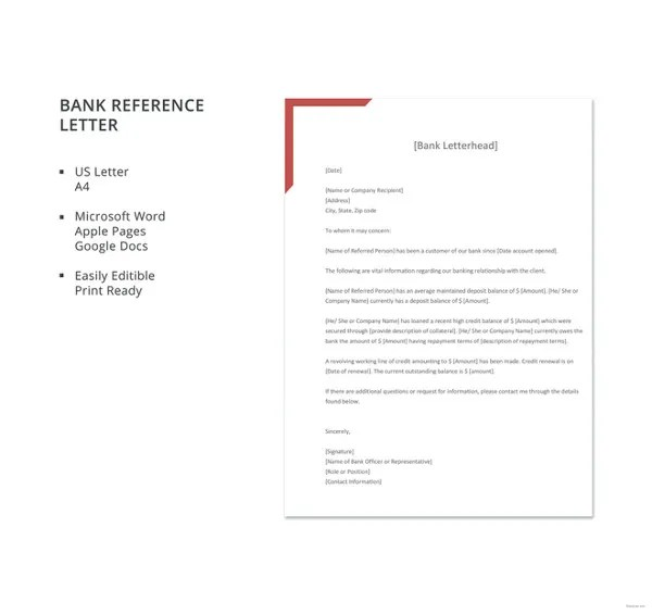 8+ Bank Reference Letter Templates - Free Sample, Example, Format