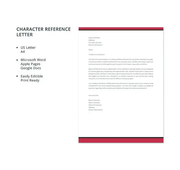 9+ Sample Character Reference Letter Templates - PDF, DOC Free