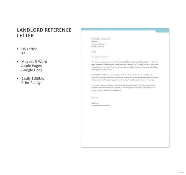 16+ Landlord Reference Letter Template - Free Sample, Example