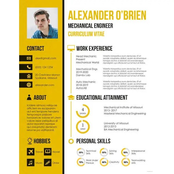 9+ Mechanical Engineering Resume Templates - PDF, DOC Free - Mechanical Engineering Resume
