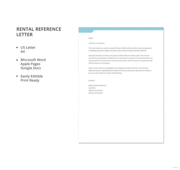 10+ Rental Reference Letter Templates - Free Sample, Example, Format - rental reference