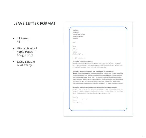 20+ Leave Letter Templates - PDF, DOC Free  Premium Templates - format for leave application