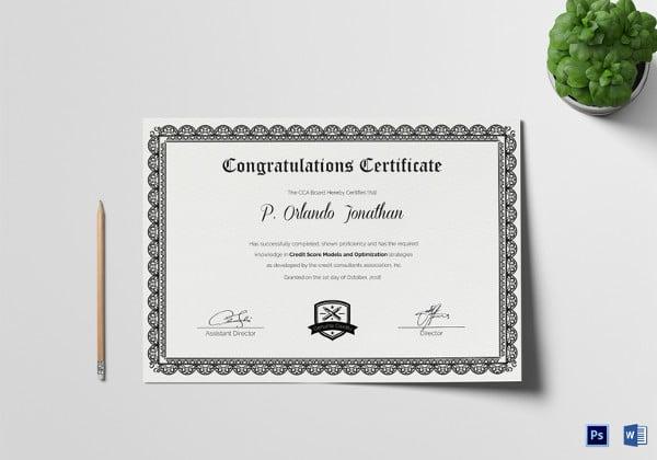 14+ Congratulations Certificate Templates - Free Sample, Example