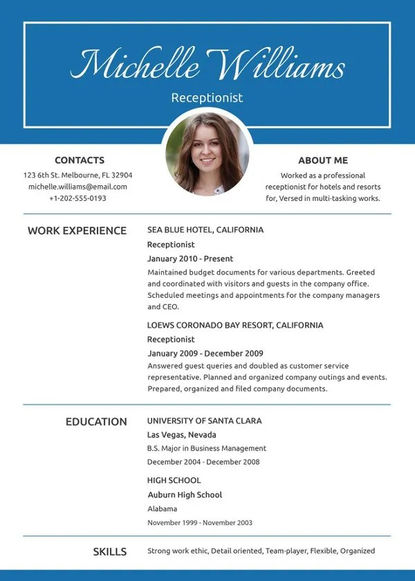 Receptionist Resume Template - 8+ Free Word, PDF Document Download - resume templates for receptionist