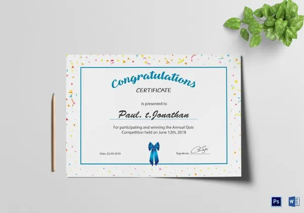 14+ Congratulations Certificate Templates - Free Sample, Example