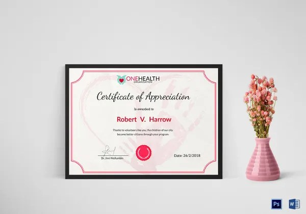 37+ Certificate of Appreciation Templates - PDF, Docs, Word, AI, PSD