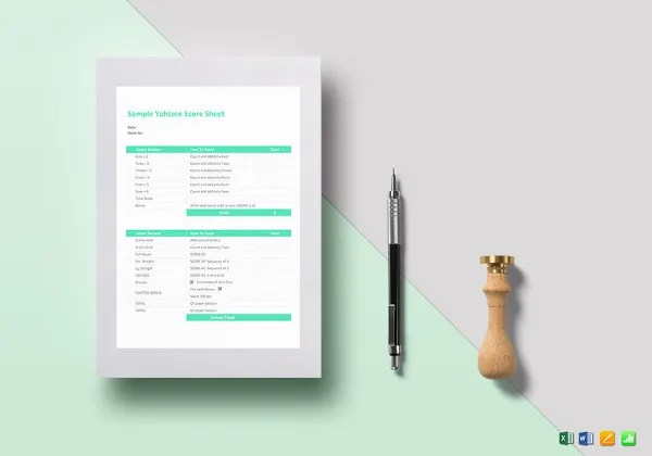 Score Sheet Template - 16+ Free Word, Excel, PDF Document Download - sample tennis score sheet template
