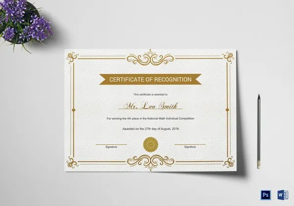20+ Certificate of Recognition Templates - Free Sample, Example - recognition certificate template