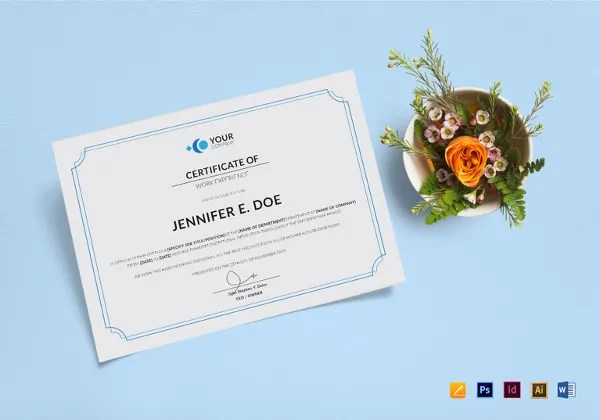 17+ Experience Certificate Templates - PDF, DOC Free  Premium - experience certificate formats