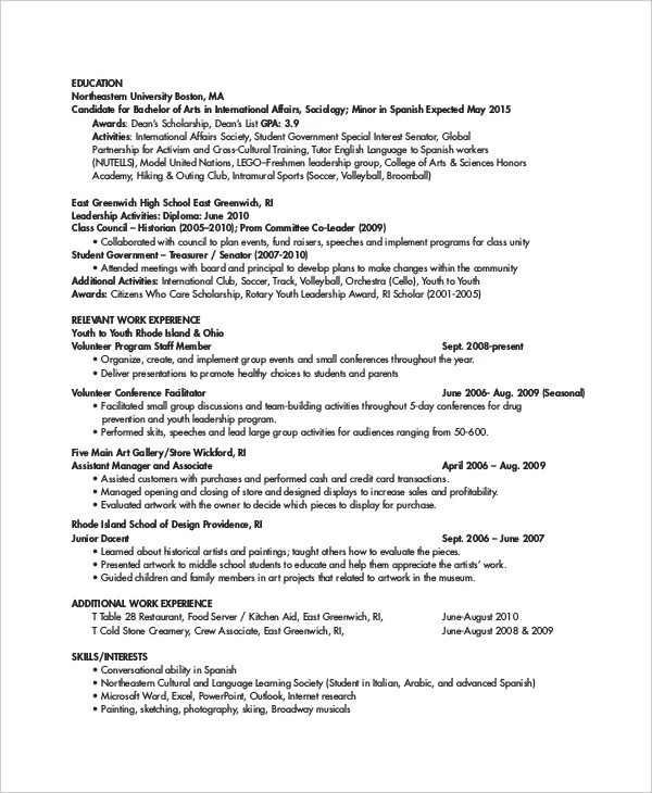 Personal Trainer Resume Template - 7+ Free Word, PDF Document - Resume Templates For Servers