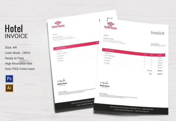 Hotel Template - 15+ PSD, EPS, Vector, AI Format Download Free - hotel invoice
