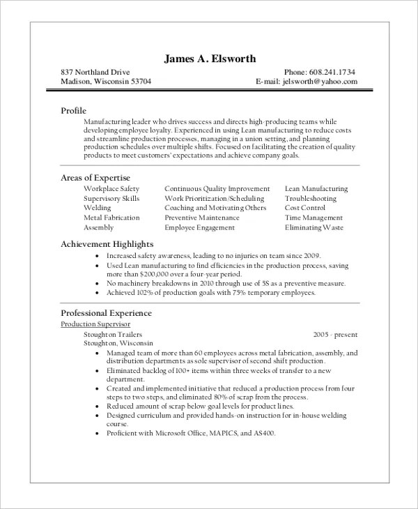 warehouse supervisor resume templates