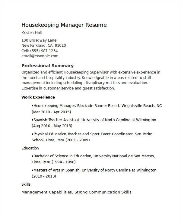 housekeeper supervisor resume sample
