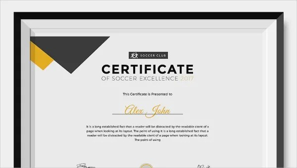 Soccer Certificate - 12+ Word, PSD, AI, InDesign Format Download