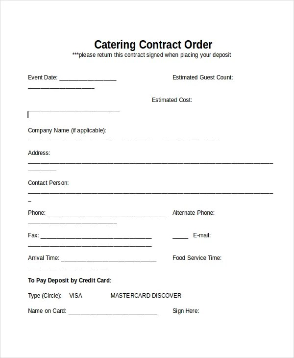 food catering contract template - Ozilalmanoof