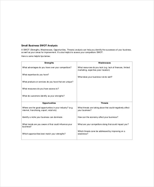 Business SWOT Analysis Template - 7+ Free Word, PDF Documents