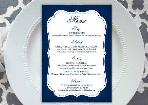 free wedding menu templates download