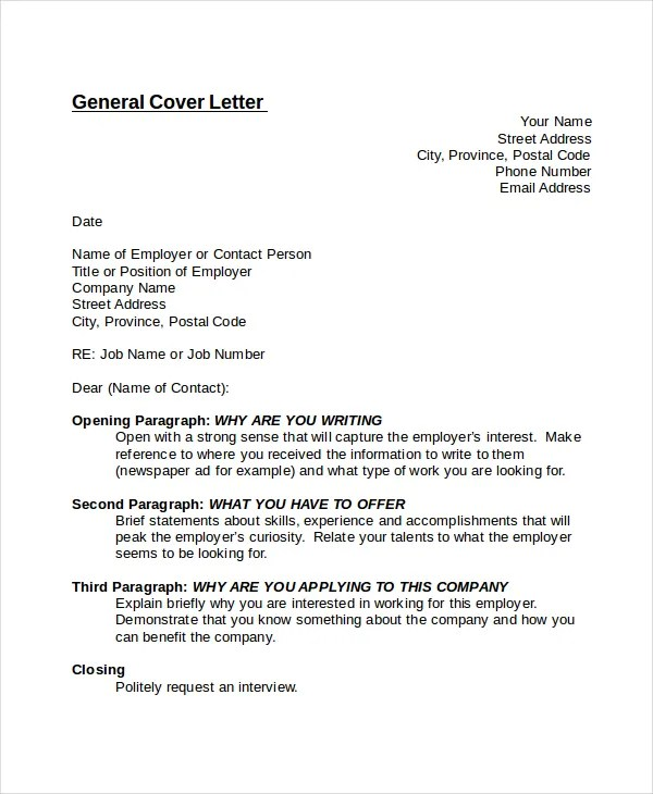 General Cover Letter Cover Letter Templates Free Sample Example - generic cover letter example