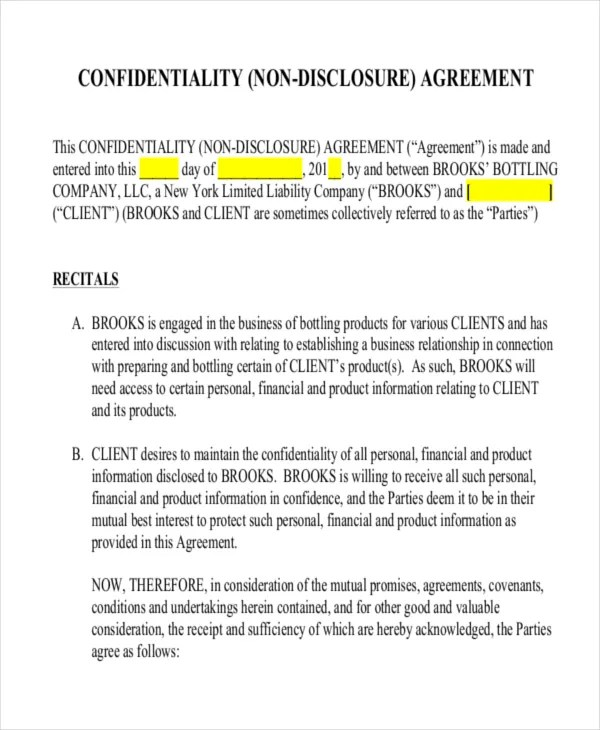 Non Disclosure Agreement Template One Way | Create Professional